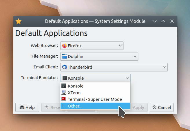New Default Applications KCM