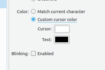 Custom cursor text color