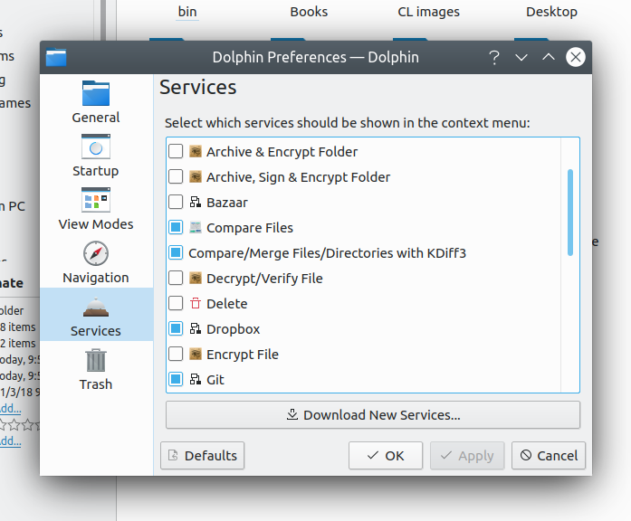 Alphabetically corted services list in Dolphin